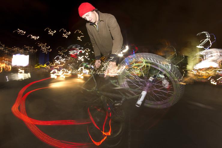 Freestyle Now federation square bmx flatland stunt show June 2014 Ben Moran Light wheels - photo greg Barns