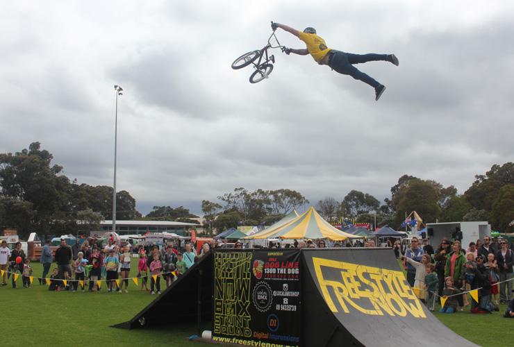 Freestyle Now bmx stunt show - Margaret River Agricultural show 2014 - Dylan Schmidt superman tailwhip