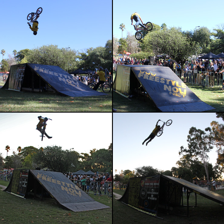 Freestyle Now bmx stunt show - 1 John Hughes slopestyle April 2015