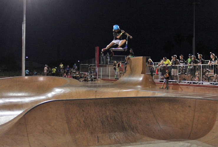 Freestyle Now South Hedland skatepark competition 15th August 2015 scooter rider Anthony Dann