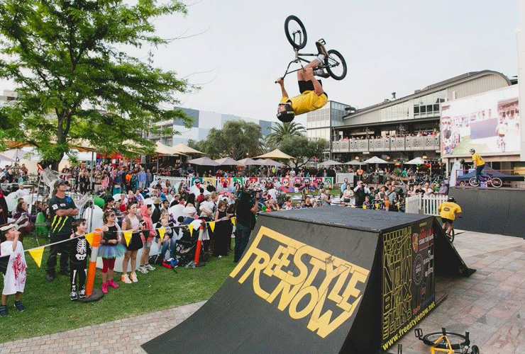Freestyle Now bmx stunt show Northbridge Piazza Carnival Macabre Brady Thomas - photo Daniel Grant
