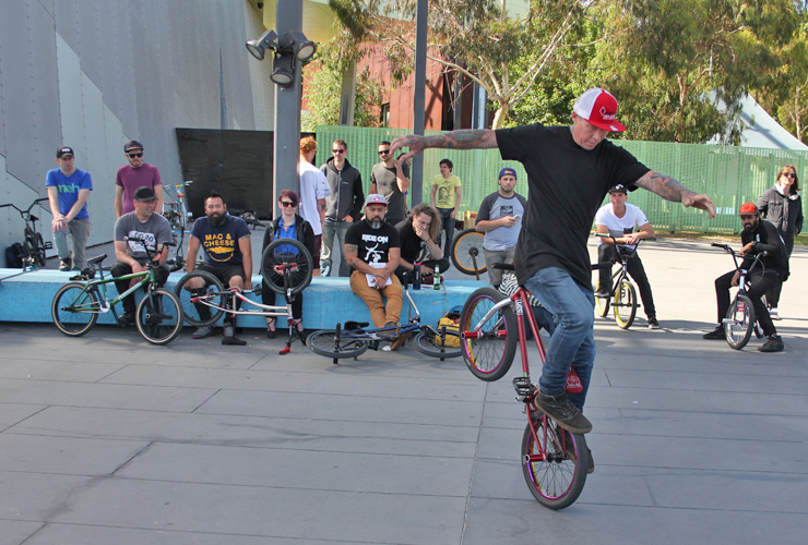 Lee Kirkman at DownUnderGround bmx flatland contest Melbourne 2015