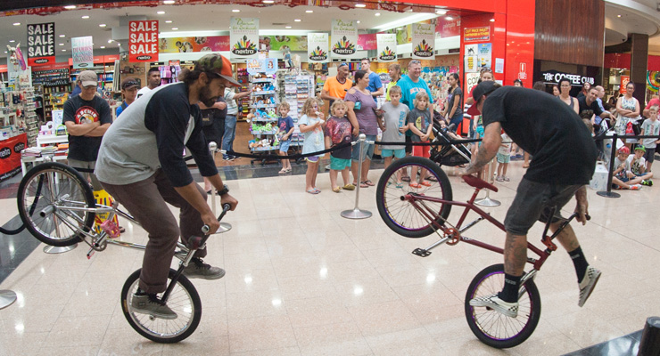 Freestyle now bmx stunt show - Westfield Penrith shopping centre Paul Chamberlain and Lee Kirkman doubles up