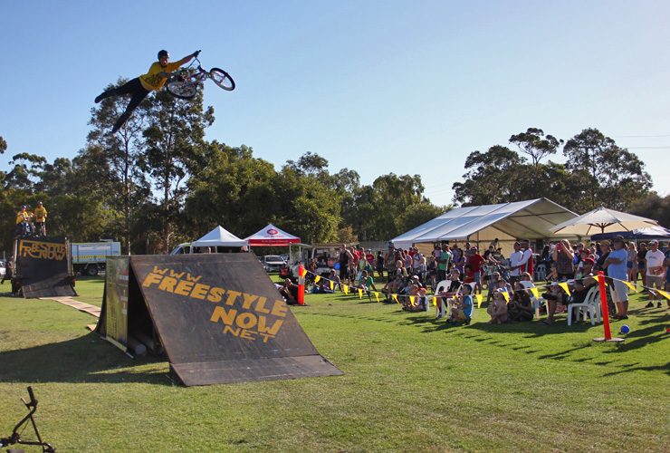 Dylan Schmidt jumps higher than most and his superwhips made the Corymbia festival crowds cheer and applause plenty.