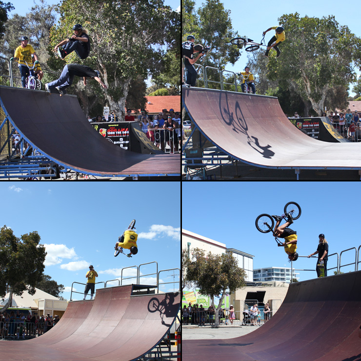 Freestyle Now bmx stunt show - Mandurah Crabfest March 2016 - bmx and skateboard halfpipe