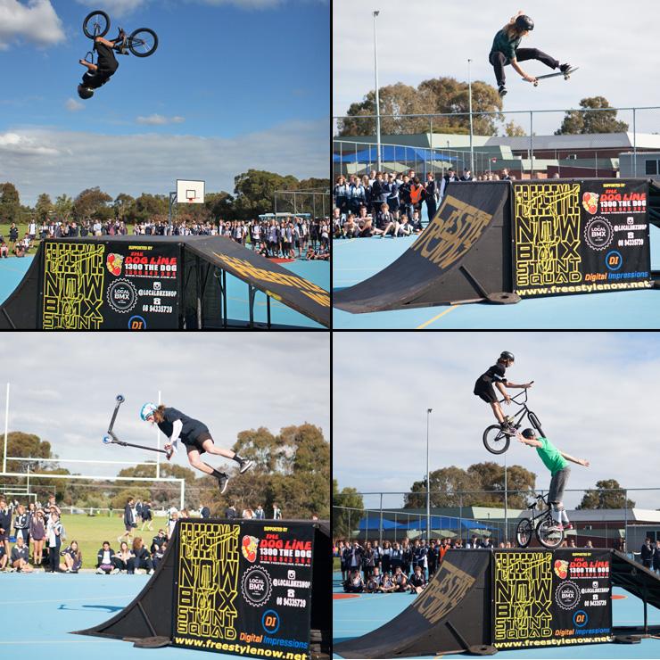Freestyle Now stunt show duncraig high school June 2016 - BMX skateboard scooter