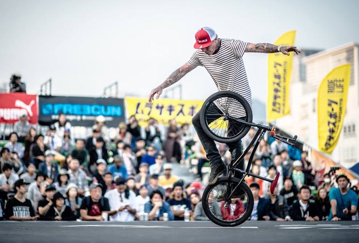 Lee Kirkman at Flatark 2015 mid contest run - freestyle now bmx flatland
