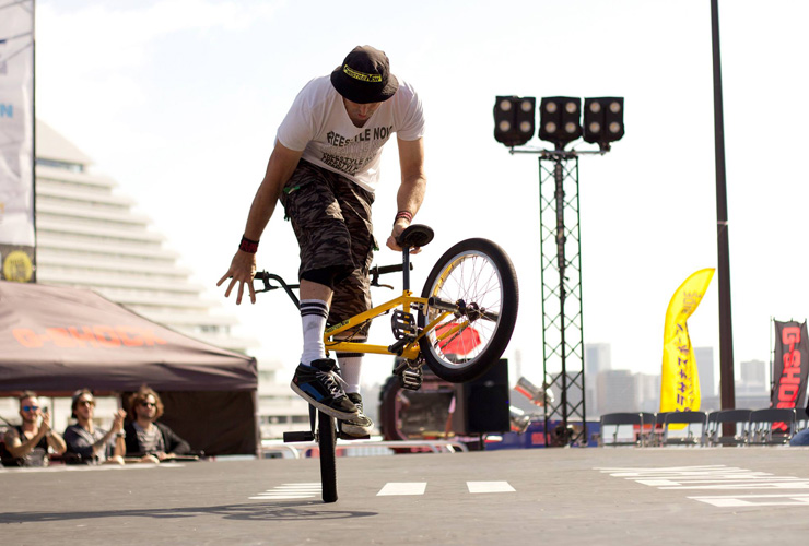 Shaun Jarvis at Flatark 2015 mid contest run - freestyle now bmx flatland