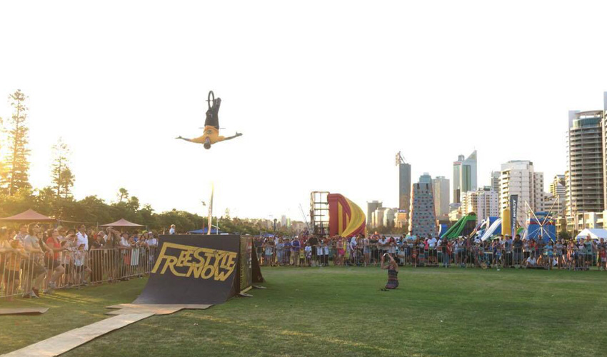 Freestyle Now bmx stunt show - Australia Day Perth Esplanade - Dylan Schmidt