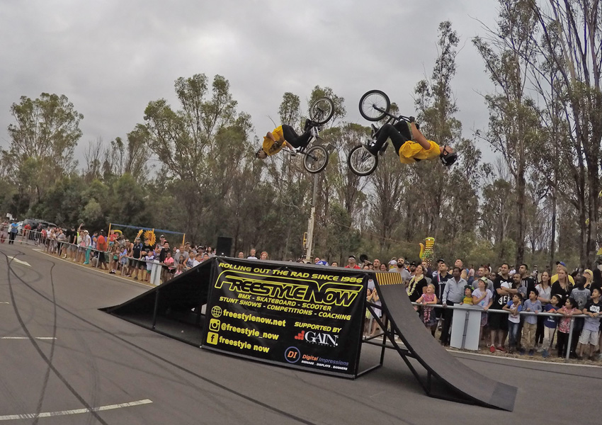 Freestyle Now bmx stunt show - Rooty Hill - Danny Campbell and John Condie backflip