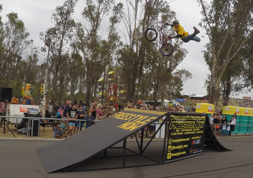 Freestyle Now bmx stunt show - Rooty Hill - Lee Kirkman super indian air grab